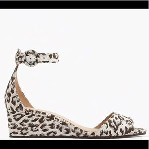J Crew leopard print Laila wedges size 6.5